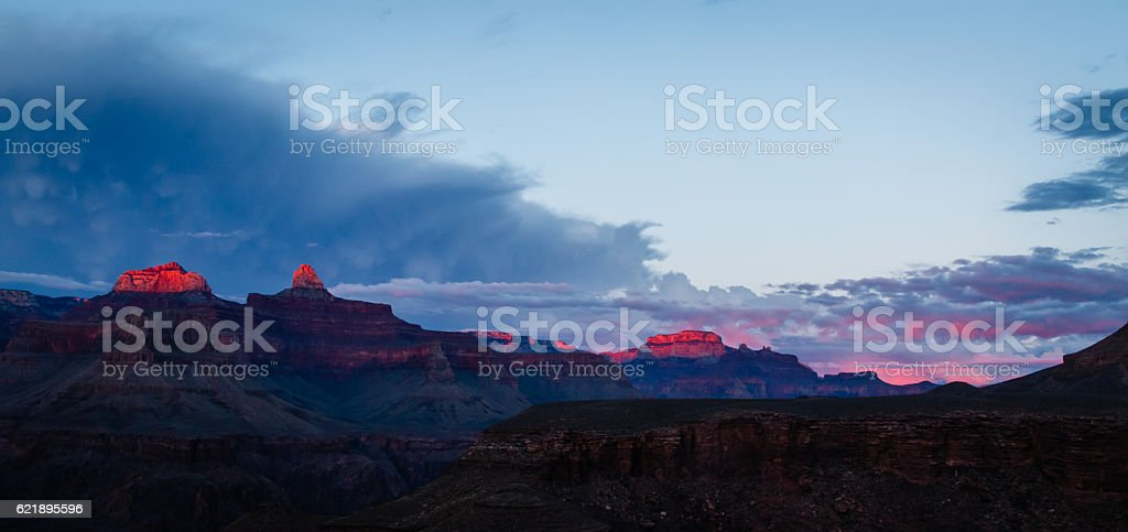 Grand Canyon National Park Sunset at Plateau Point stock photo
