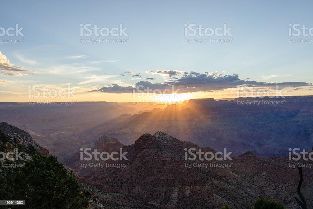 Grand Canyon South Rim National Park bei Sonnenuntergang Lizenzfreies stock-foto