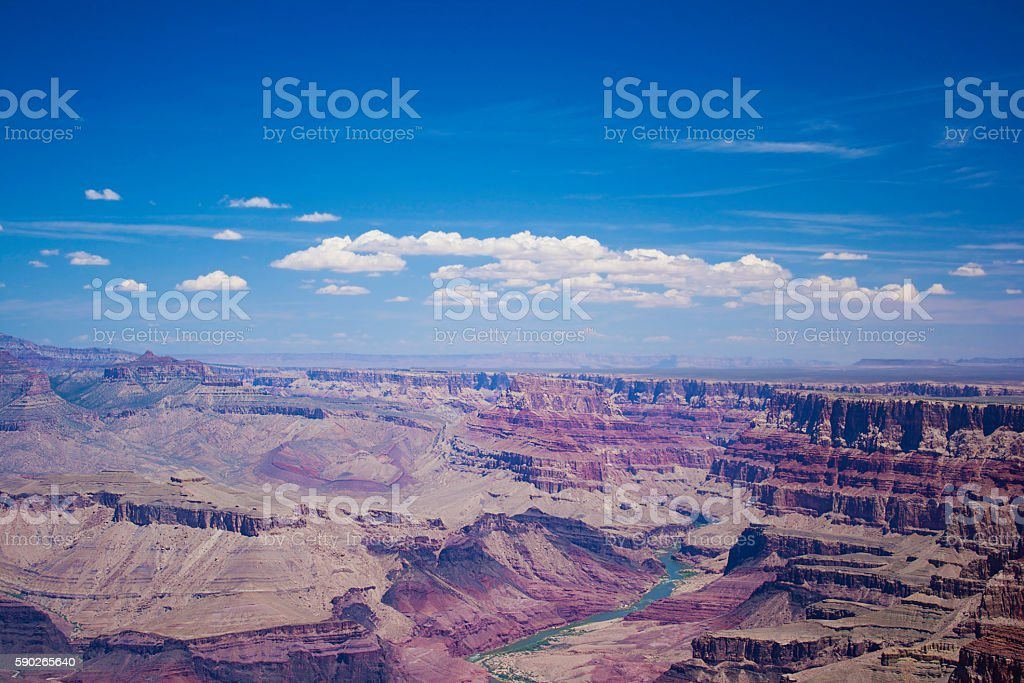 Grand Canyon National Park Under Beautiful Blue Sky stock photo