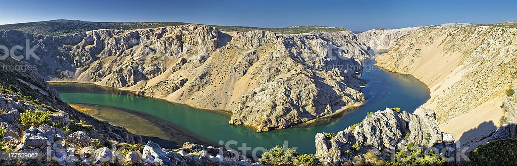 Grand canyon of Zrmanja river panoramic stock photo