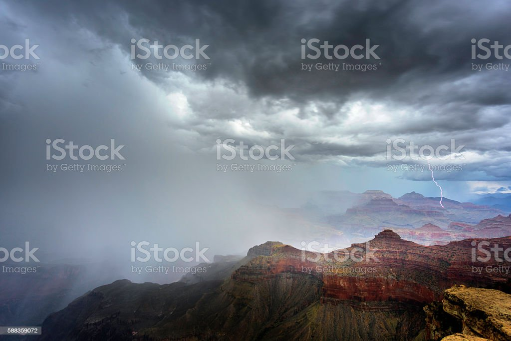 Grand Canyon on a stormy day stock photo