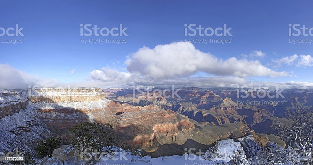 Grand Canyon panorama with snow stock photo