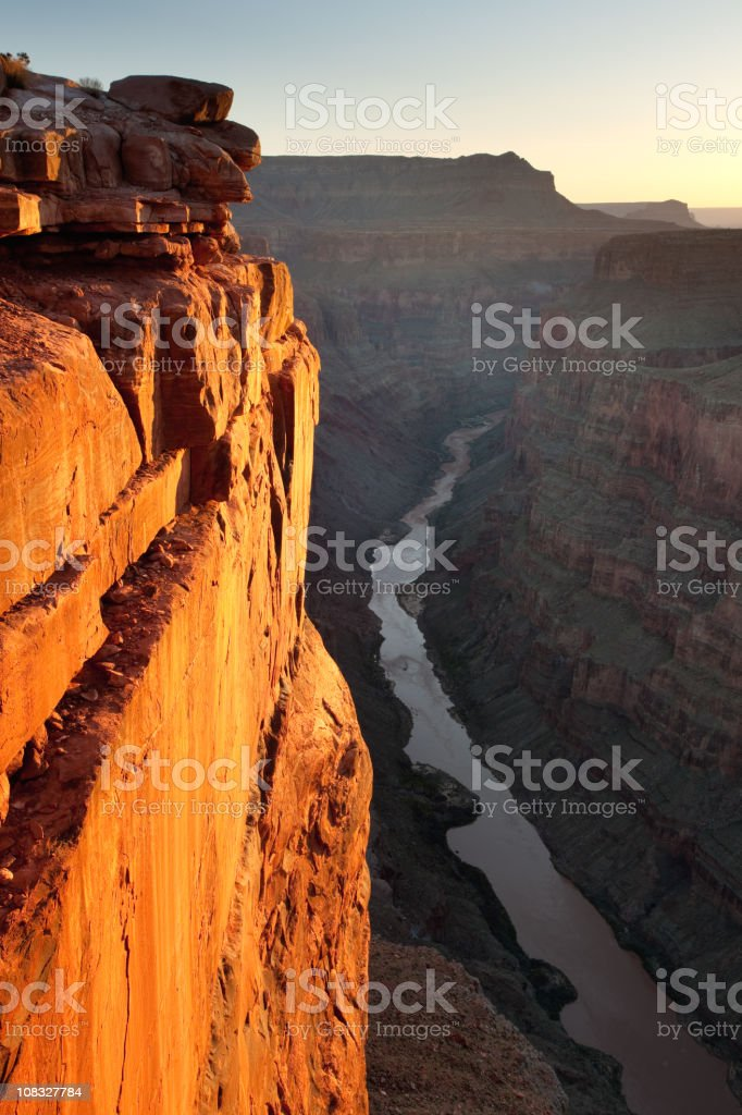 Grand Canyon Toroweap Point Sunrise Glowing Wall stock photo