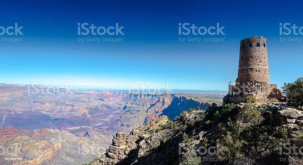 Grand Canyon watchtower stock photo