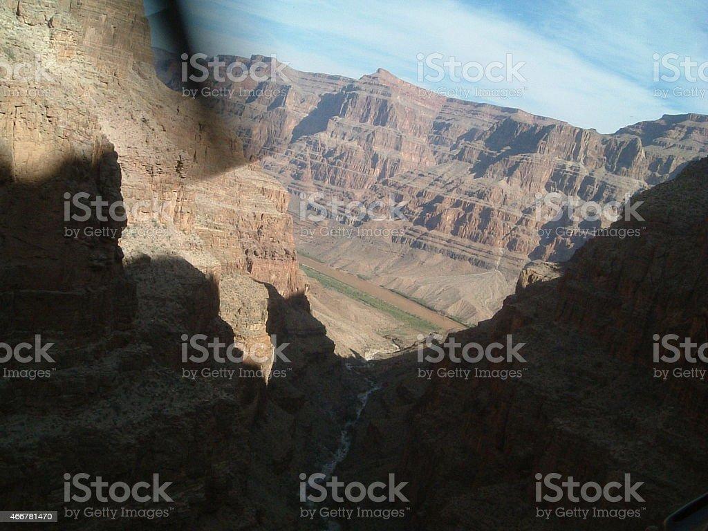 Grand Canyon: la vista desde un helicóptero foto de stock libre de derechos
