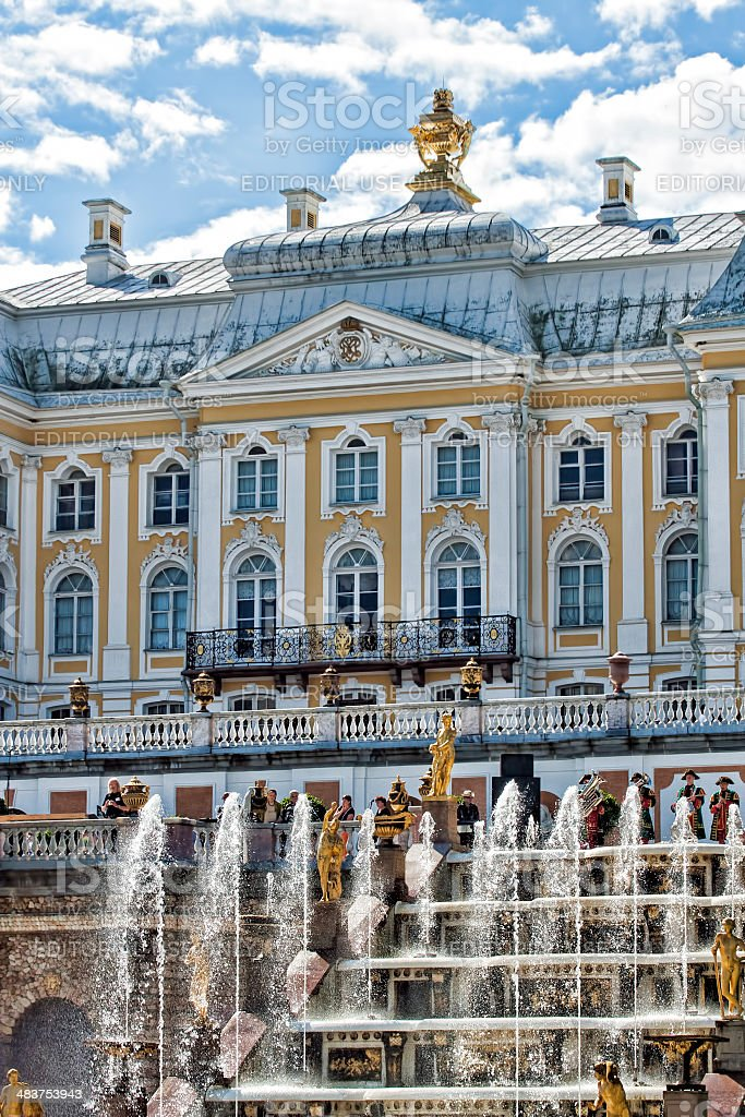 Grand Cascade At Peterhof Palace, St. Petersburg, Russia stock photo