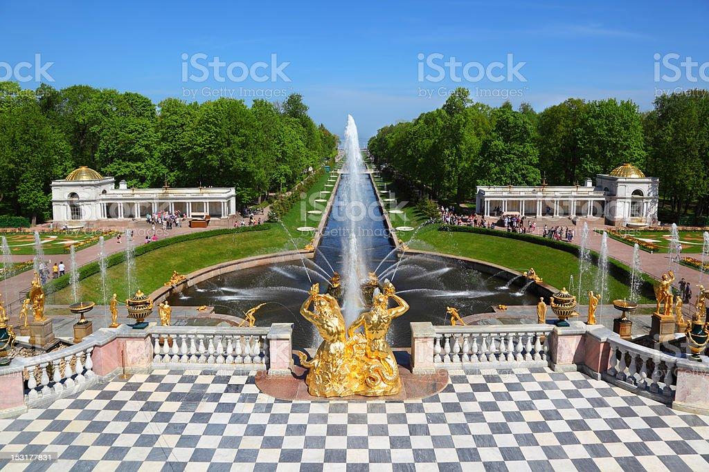 Grand cascade in Pertergof, Saint-Petersburg, Russia. stock photo