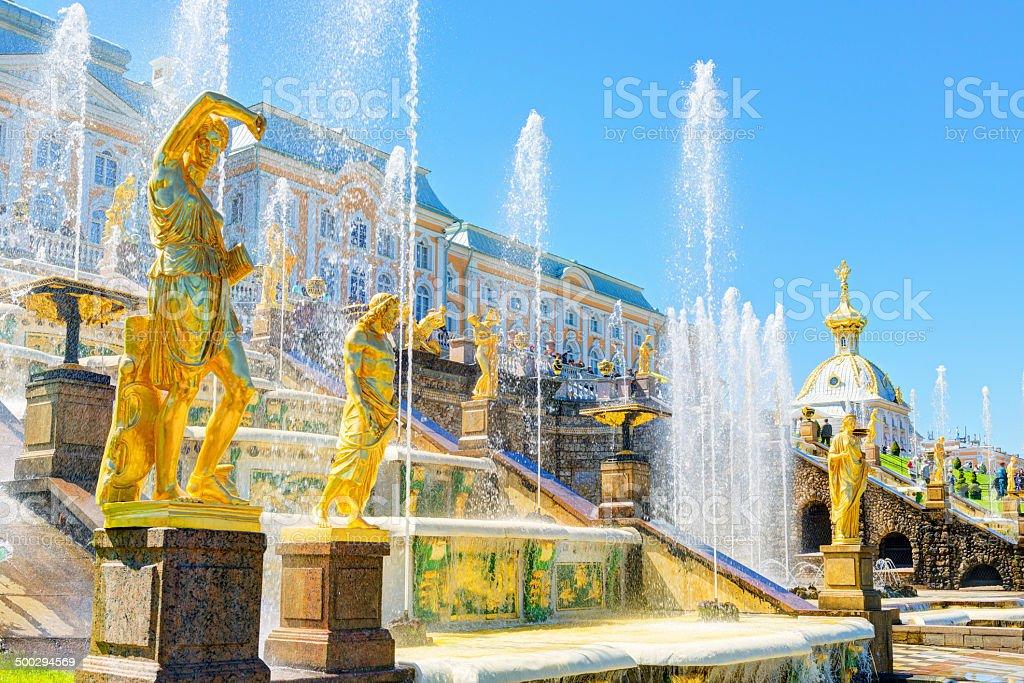 Grand Cascade in Peterhof Palace, Saint Petersburg stock photo