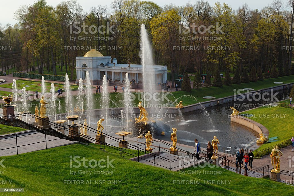 Grand Cascade in Peterhof, St. Petersburg, Russia stock photo