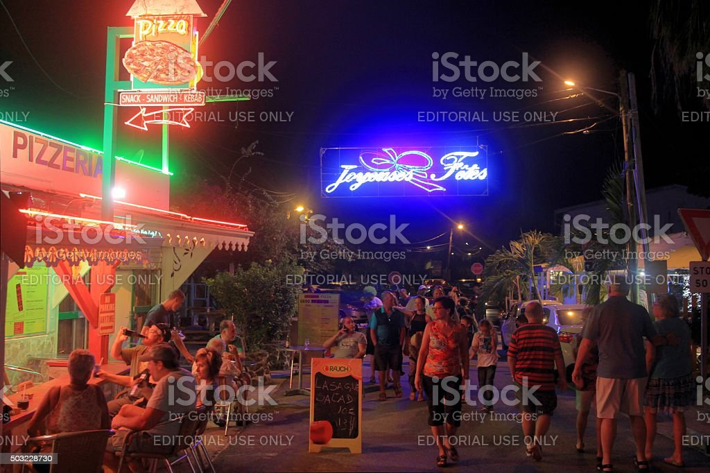 Grand Case boulevard during 'Les Mardis de Grand Case' stock photo