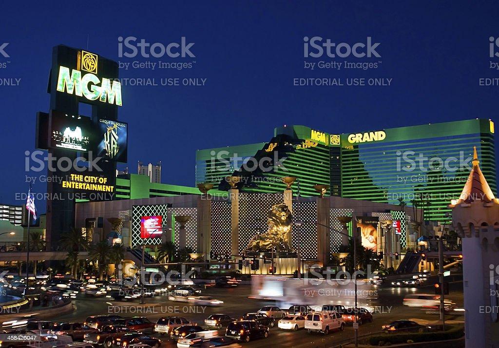 MGM Grand Casino and Resort at Night stock photo