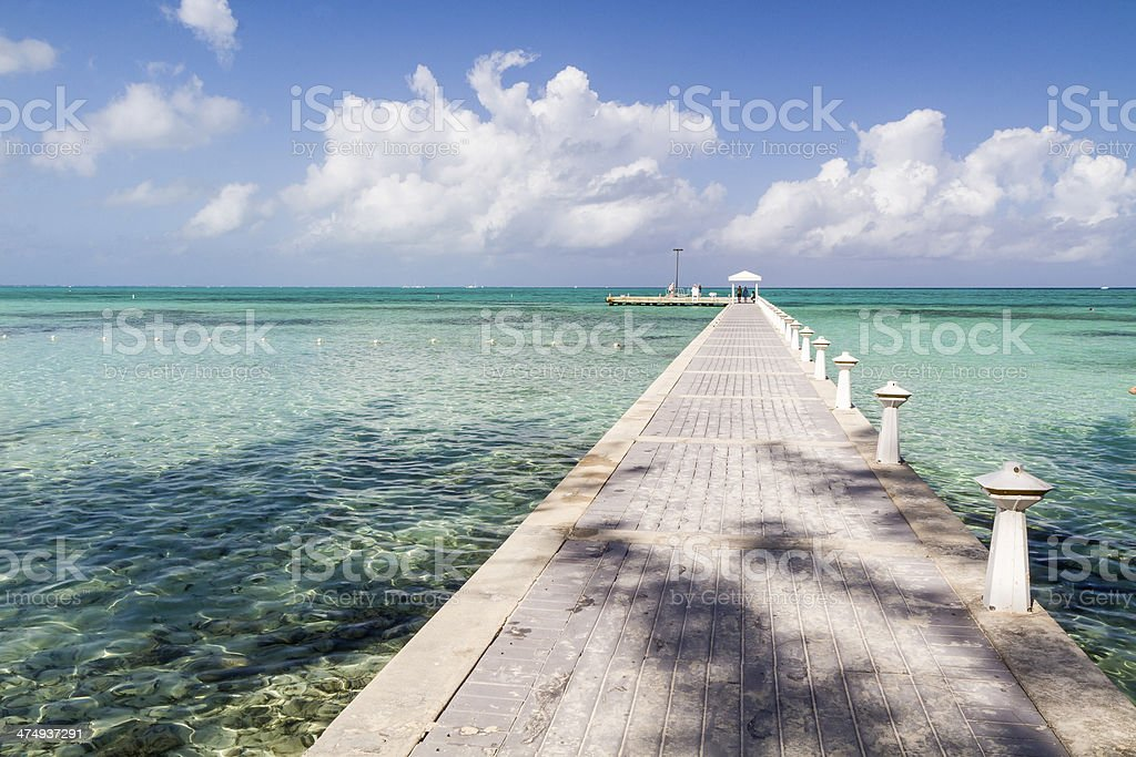 Grand Cayman Dock & Turquoise Water stock photo