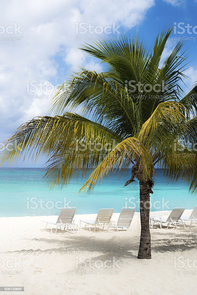Grand Cayman Island Beach Chairs stock photo