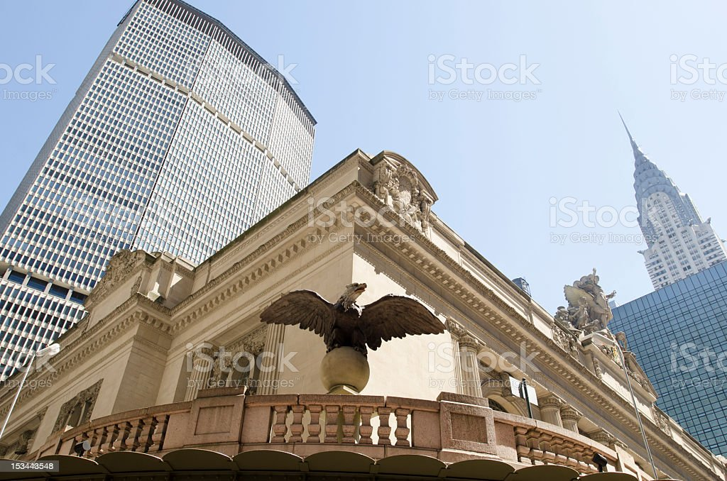 Grand Central Station and the Chryler Building, New York City stock photo