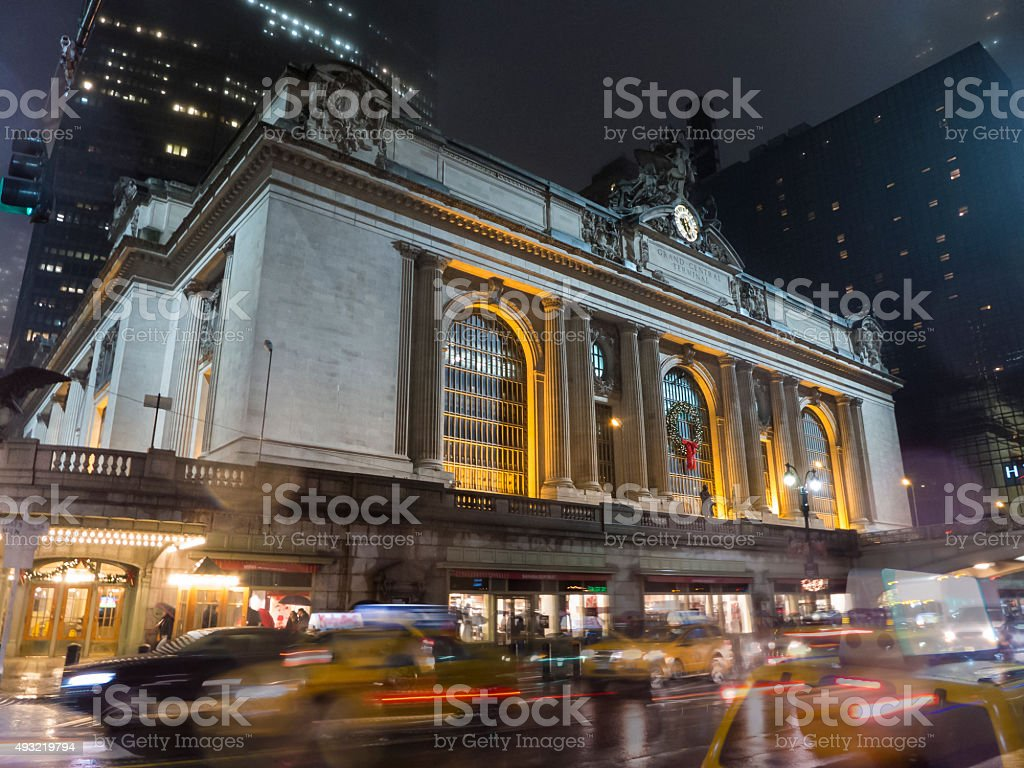 Grand Central Station at Night with Blur of Cars Moving stock photo