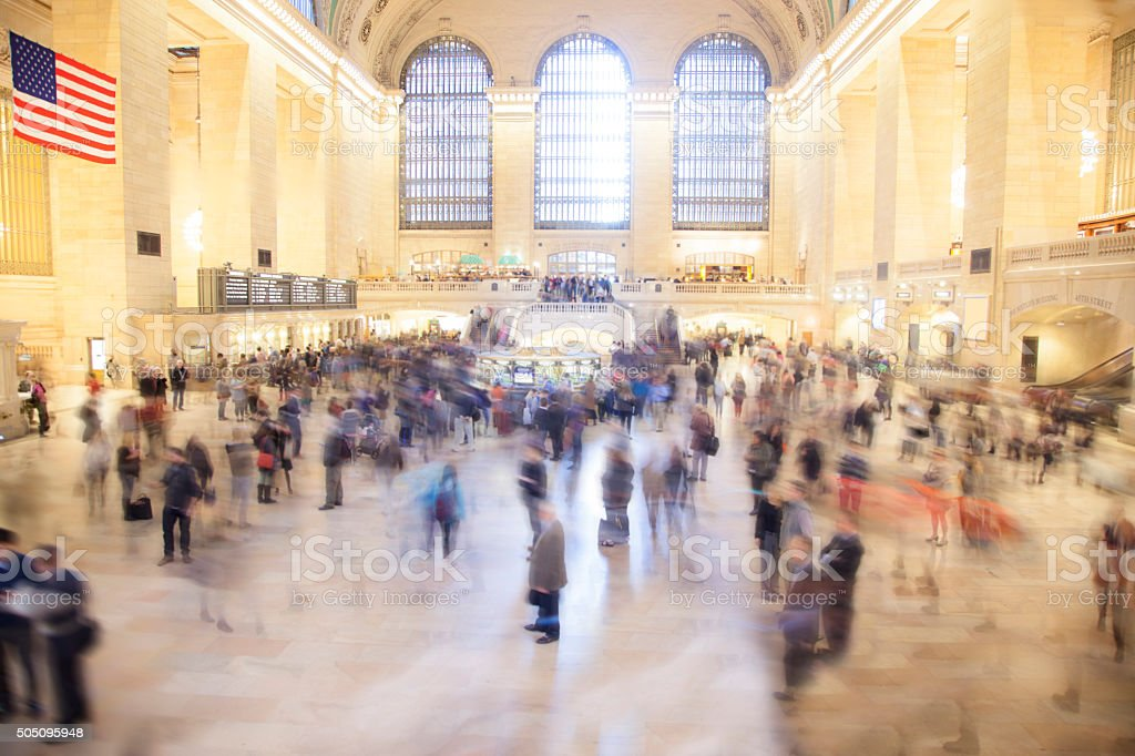 Grand Central Station. New York City. Busy train station terminal. stock photo