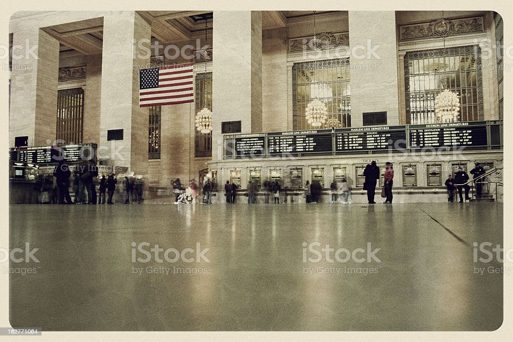 Grand Central Station - Vintage Postcard royalty-free stock photo