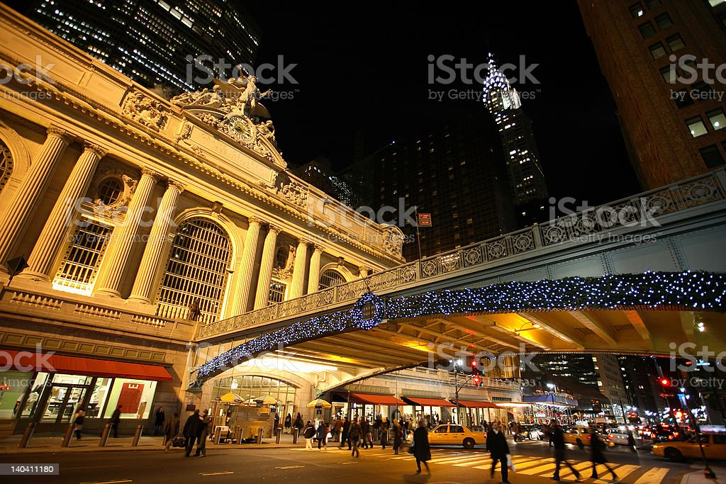 Grand Central Terminal, New York, at night royalty-free stock photo