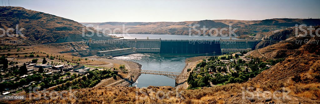 Grand Coulee Dam, Columbia River, United States stock photo