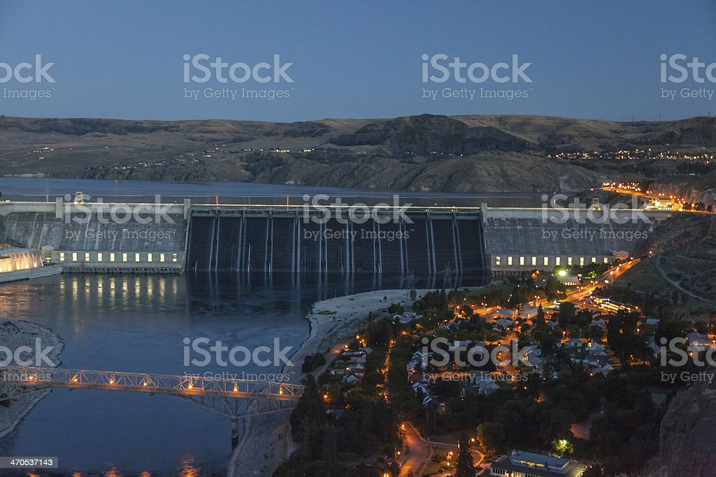 Grand Coulee Dam - Dusk stock photo