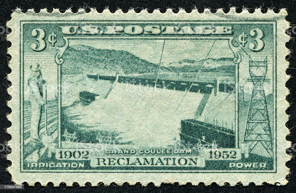 Grand Coulee Dam Stamp stock photo