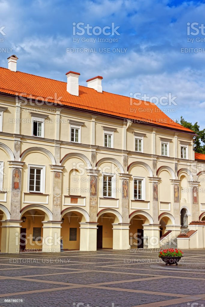 Grand courtyard and library of Vilnius University stock photo