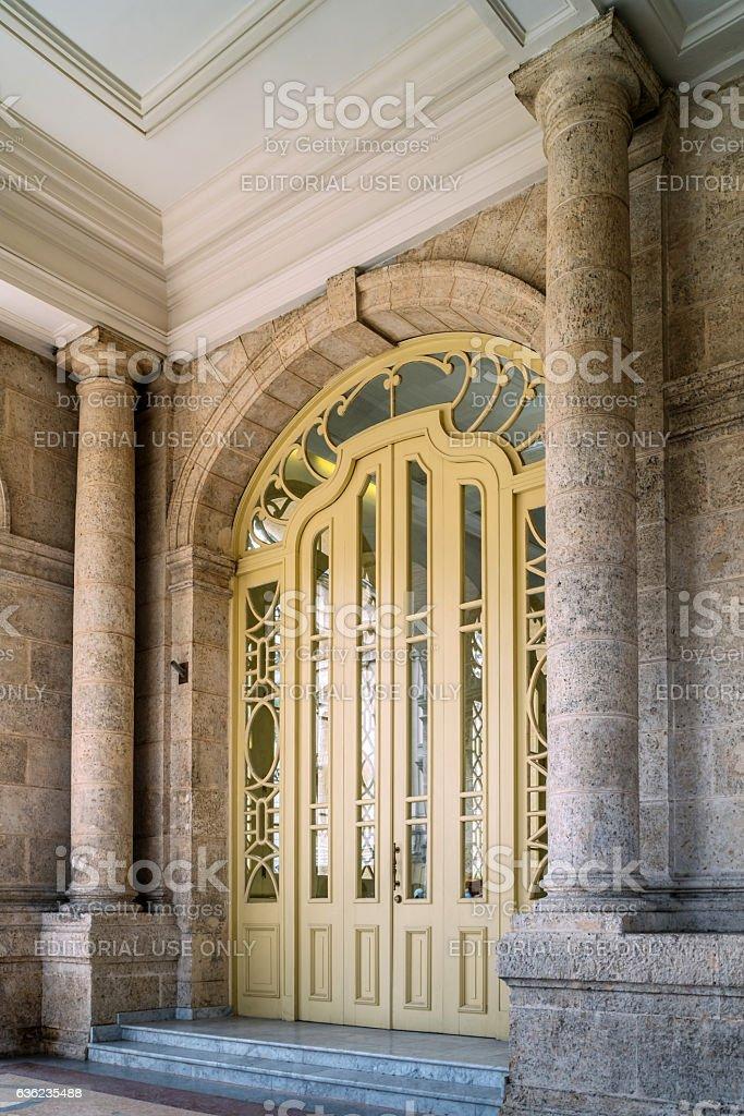 Grand door at Grand Thetre in Havana stock photo