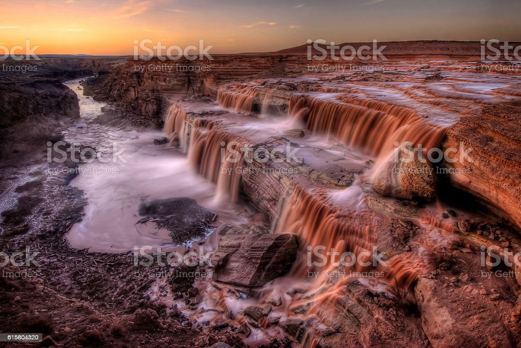 Grand Falls (Chocolate Falls) at Sunset stock photo