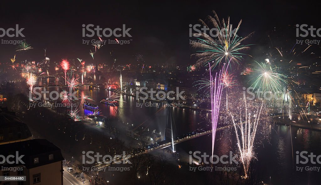 Grand Firework aerial New Years Eve stock photo