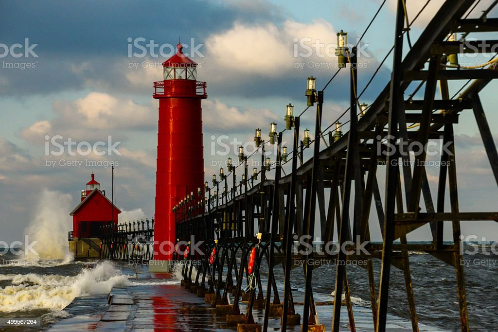 Grand Haven Lighthouse with Big Waves stock photo