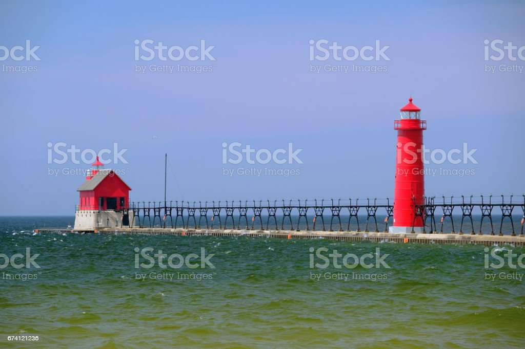 Grand Haven South Pierhead Inner Light, built in 1905 stock photo