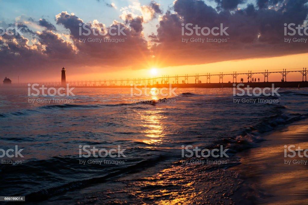 Grand Haven Sunset stock photo