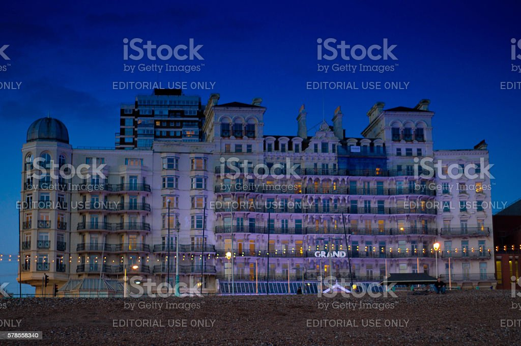 Grand Hotel at night stock photo