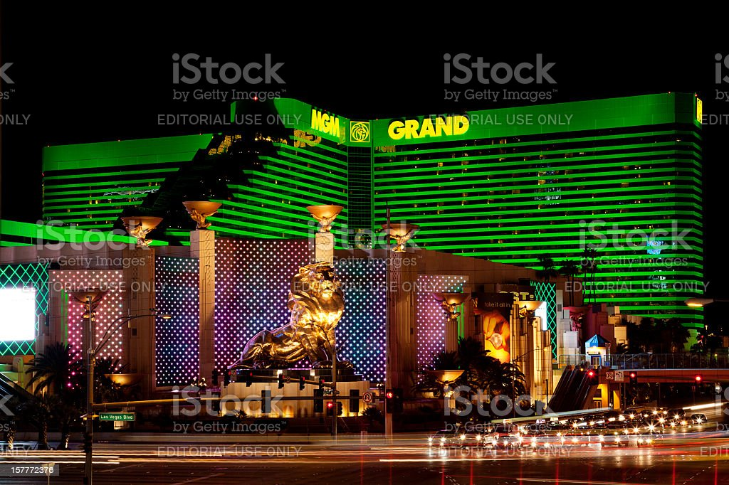 MGM Grand hotel casino in Las Vegas at night stock photo