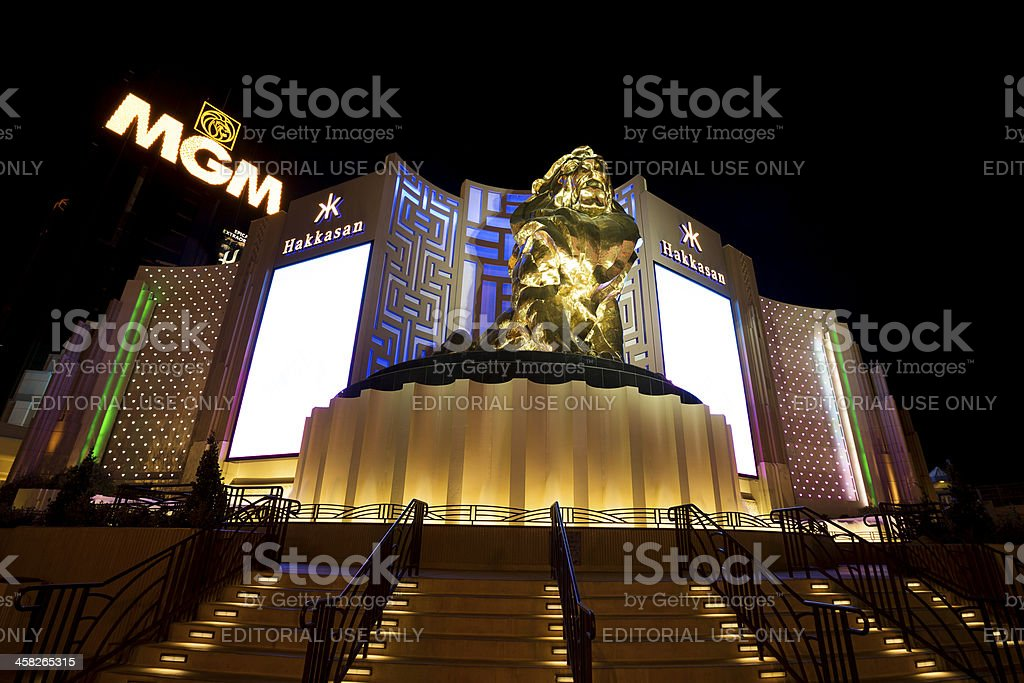 MGM Grand hotel casino in Las Vegas at night stock photo