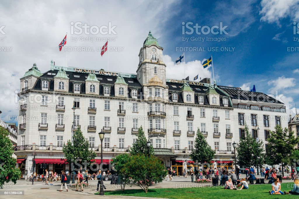 Grand Hotel classical style building with white granite facade stock photo