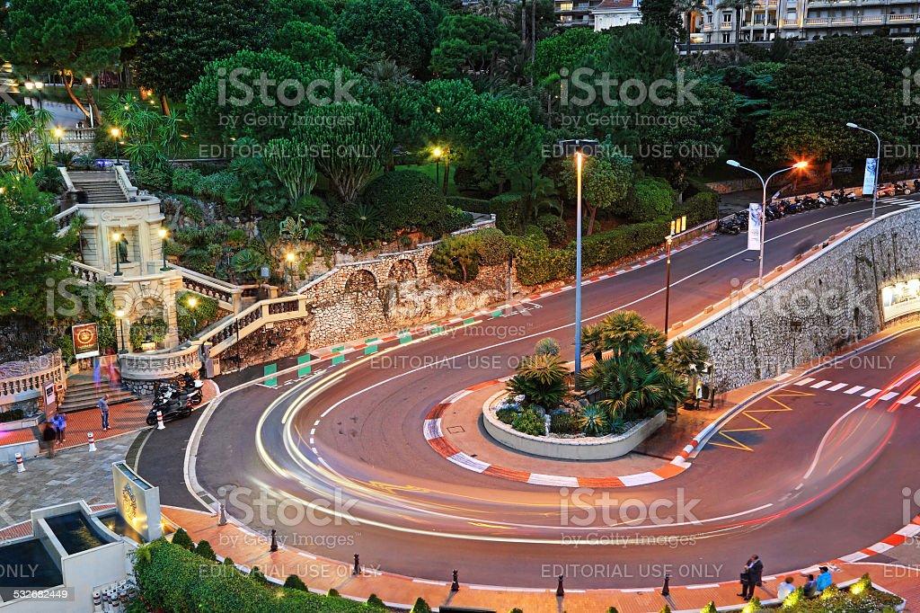 Grand Hotel hairpin in Monaco stock photo