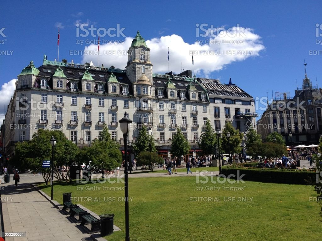 Grand Hotel Oslo on a sunny summer day stock photo