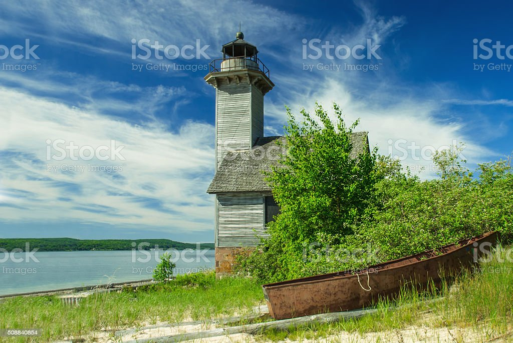 Grand Island Lighthouse, Superior Lake, Michigan, USA stock photo