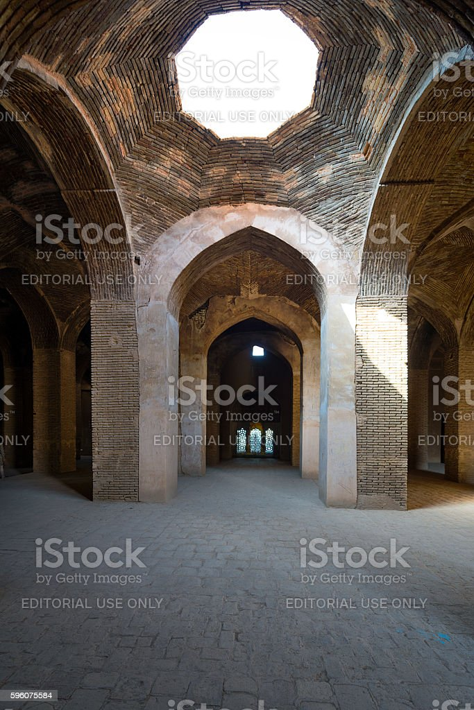 Grand Jameh mosque interior in Isfahan.Iran stock photo
