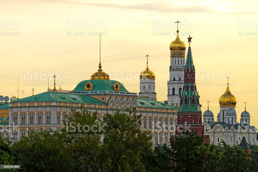 Grand Kremlin palace bell tower, tower and archangel cathedral a stock photo