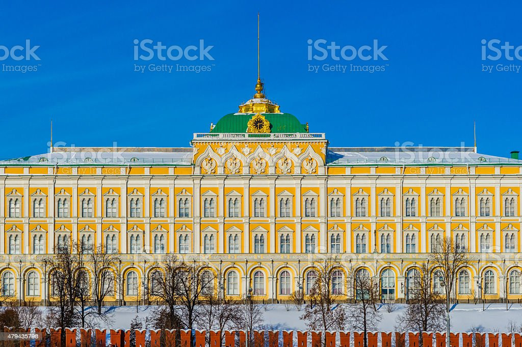 Grand Kremlin palace in the winter day stock photo