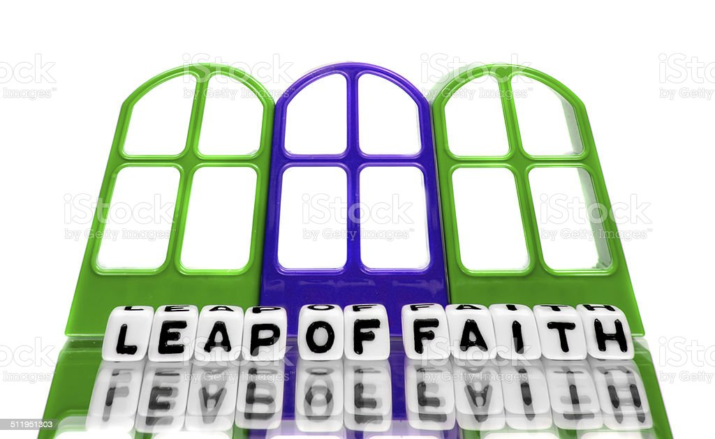 Grand leap of faith text message stock photo