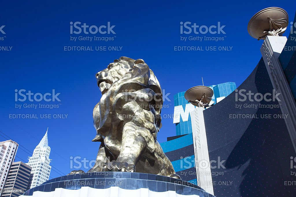 MGM Grand Lion and Hotel stock photo
