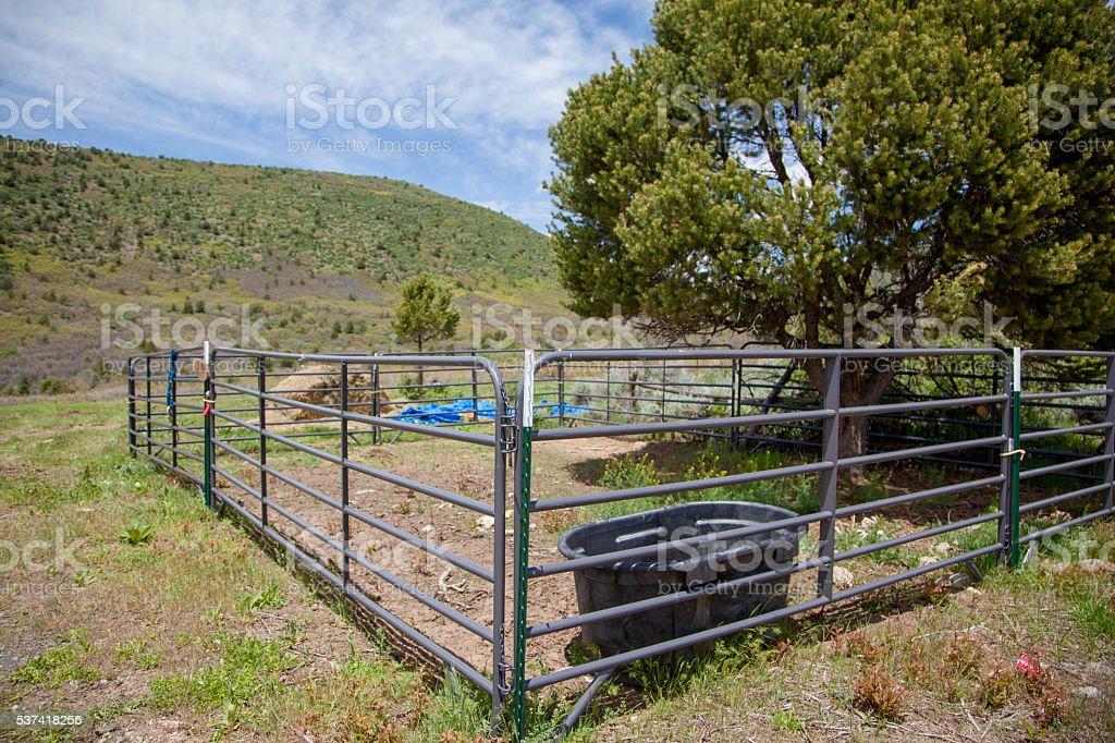 Grand Mesa Spring Landscape Colorado Fence Corral stock photo