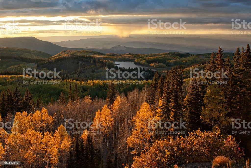 Grand Mesa Sunset stock photo