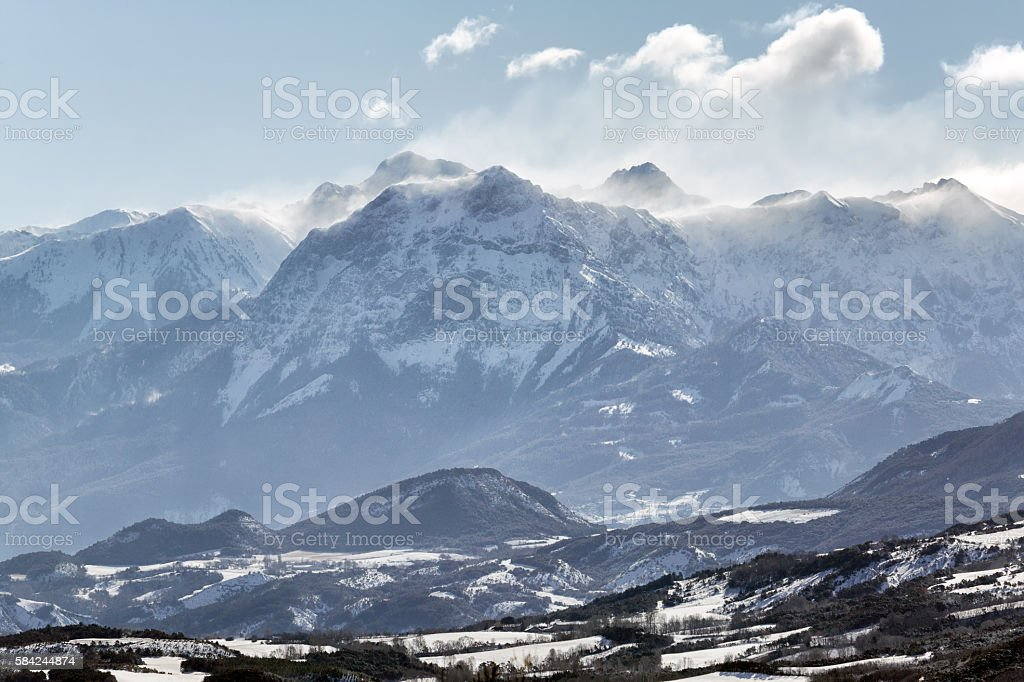 Grand Morgon peak Winter morning. Hautes Alpes, French Alps, France stock photo