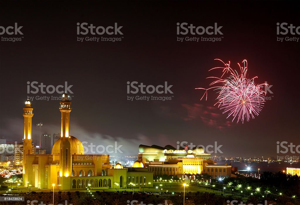 Grand Mosque and Fireworks stock photo