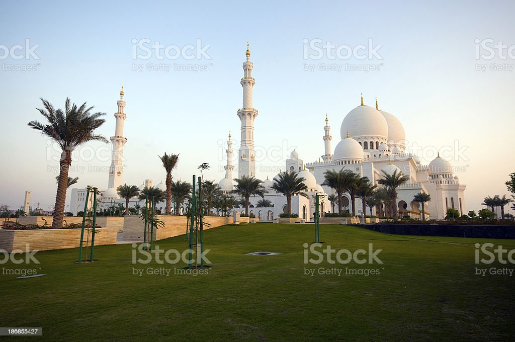 Grand Mosque at sunset royalty-free stock photo