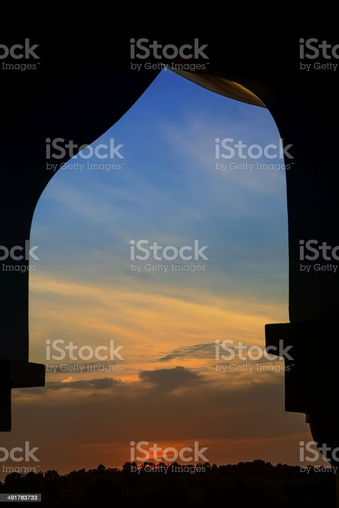 Grand Mosque Sunset stock photo